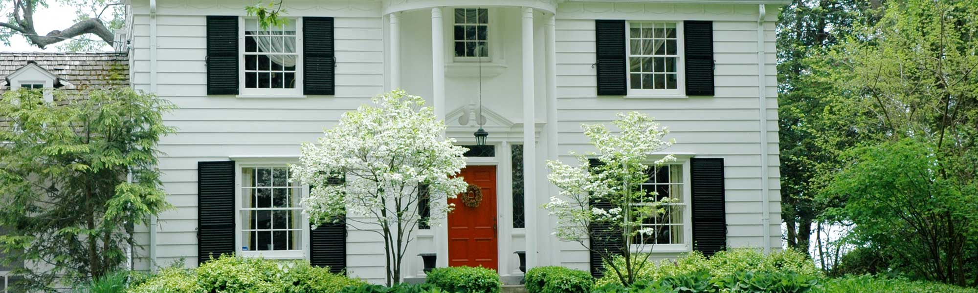 White house with red door